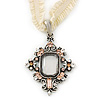 Victorian Style Filigree Clear, Champagne Crystal Pendant With Milky White Stretch Ribbon Choker Necklace In Burn Silver - 28cm Length/ 5cm Extension
