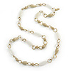 Long Milky White/ Beige Glass and Ceramic Bead, Gold Round Link Necklace - 100cm L