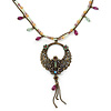 Vintage Inspired Bronze Tone Filigree Round Pendant, With Beaded Suede Chains - 38cm Length/ 8cm Extender