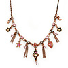Vintage Inspired Pink Crystal, Enamel Charm Necklace In Bronze Tone - 38cm L/ 5cm Ext