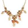 Beige Enamel Flower, Leaves, Bead Necklace In Gold Tone Metal - 38cm L/ 6cm Ext