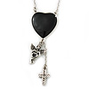 Vintage Inspired Heart, Angel, Cross Charm Necklace In Burn Silver Finish - 36cm Length/ 7cm Extension