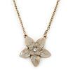 Beige Grey Enamel Flower Pendant With Gold Tone Chain - 36cm Length/ 7cm Extension