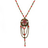 Cranberry Red Enamel Floral, Bead, Chain Pendant With 40cm L/ 7cm Ext Bronze Tone Acrylic Bead Chain