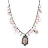 Vintage Inspired Enamel Floral Medallion With Pink Freshwater Pearl, Bows, Roses Chain In Pewter Tone - 40cm L/ 7cm Ext