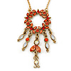 Carrot Red Diamante Round Pendant With Dangles, On 38cm L/ 7cm Ext Gold Tone Chain