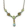 Vintage Inspired Green, Olive Enamel, Crystal Floral Y- Shape Necklace In Pewter Tone - 36cm L/ 4cm Ext