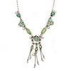 Light Green Enamel, Crystal, Floral Tassel Necklace In Silver Tone - 38cm L/ 5cm Ext