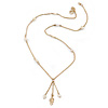 Delicate White Acrylic Bead Gold Tone Chain Necklace with Tassel - 50cm L