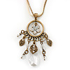 Vintage Inspired Floral, Bead Charm Pendant With Antique Gold Chain & White Suede Cord Necklace - 36cm Length/ 7cm Extension