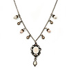 Vintage Inspired Filigree Charm Pendant With 44cm L/ 6cm Ext Pewter Tone Beaded Chain