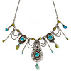 Vintage Inspired Light Blue, Olive Bead, Chain Charm Necklace In Pewter Tone - 32cm L/ 6cm Ext