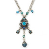 Vintage Inspired Blue Crystal, Filigree Pendant With Silver Tone Chain - 38cm L/ 5cm Ext