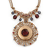 Vintage Inspired Round Filigree Crystal Pendant with Double Chain In Gold Tone - 40cm L/ 5cm Ext