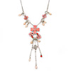 Pink Enamel Floral, Freshwater Pearl Necklace In Silver Tone - 38cm L/ 5cm Ext