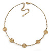 Gold Plated with Floral Motif Bead and Freshwater Pearl Necklace - 36cm L/ 8cm Ext