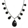 Victorian Style Black Acrylic Beads With Gun Metal Chain Necklace - 37cm L/ 7cm Ext