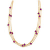 3 Strand Purple Bead Delicate Necklace In Gold Tone - 64cm Long