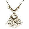 Vintage Inspired Diamond Shape Pendant With Freshwater Pearl Dangles with Bronze Tone Chain - 40cm L/ 5cm Ext