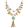Vintage Inspired Green Shell and Freshwater Pearl Bead Multi Layered, Tassel Necklace In Gold Tone - 46cm L/ 5cm Ext/ 7cm Front Drop (Tassel)