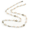 Long Cream Acrylic Bead Necklace In Silver Tone - 82cm L