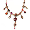 Vintage Inspired Bronze Crystal and Enamel Charm Bead  Necklace - 37cm L/ 7cm Ext