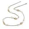 Stylish Bead and Chain Long Necklace In Silver Tone - 88cm Long
