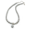 8mm, 10mm Grey Simulated Glass Pearl Necklace With Crystal Rings - 38cm Length/ 6cm Extension