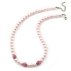8mm Pale Pink Simulated Glass Pearl Necklace With Crystal Balls In Rhodium Plating - 42cm Length/ 6cm Extension