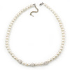 8mm White Simulated Glass Pearl Necklace With Crystal Balls In Rhodium Plating - 42cm Length/ 6cm Extension