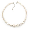 Simulated Glass Pearl Crystal Ring Flex Wire Choker Necklace In Silver Tone - 38cm Length/ 4cm Extension