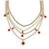 Gold Tone Multi Chain with Red Charm Bead Necklace - 52cm L