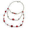Retro Style Layered Pink/ Red Cotton, Acrylic Bead Necklace In Bronze Tone Metal - 74cm L