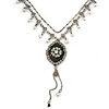 Vintage Inspired Black Enamel Floral Pendant with Pewter Tone Chain Necklace - 40cm L/ 8cm Ext