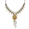 Vintage Inspired Caramel/ Green Enamel Floral Pendant with Bronze Tone Chain Necklace - 40cm L/ 8cm Ext/ 8cm Front Drop
