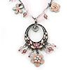 Vintage Inspired Pink/ Cream Enamel Floral Oval Pendant with Chain And Organza Cord In Pewter Tone - 40cm L/ 5cm Ext