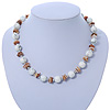 White Ceramic Bead, Beige Shell Chips Necklace In Silver Tone - 44cm L/ 4cm Ext