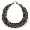 Wide Chunky Grey Beige Glass Bead Plaited Necklace - 53cm L