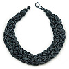 Wide Chunky Hematite Glass Bead Plaited Necklace - 44cm L