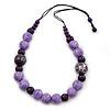 Lilac/ Purple Wood Bead Cotton Cord Necklace - 70cm L (Adjustable)