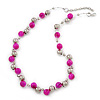 13mm Deep Pink, Silver Mirror Bead Wire Necklace In Silver Tone - 50cm L/ 4cm Ext