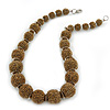 Chunky Bronze Glass Bead Ball Necklace with Silver Tone Clasp - 47cm L