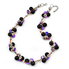 Black Ceramic, Magenta Shell Cluster Bead Necklace In Silver Tone - 46cm L/ 4cm Ext
