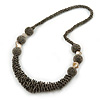 Chunky Metallic Grey Glass Bead Necklace - 70cm L