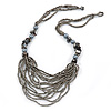 Black/ Grey Glass Bead Bib Style Necklace - 70cm L