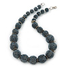 Chunky Graduated Hematite Coloured Glass Bead Necklace - 44cm L