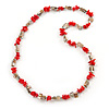 Light Coral, Antique White Shell Nugget Bead Necklace - 72cm L