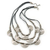 3 Strand Grey Cotton Cord Necklace with Metal Rings In Silver Tone - 66cm L/ 4cm Ext