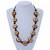 Brown Button Shape Wood Bead Cotton Cord Necklace - 70cm L (Adjustable)