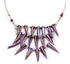 Purple Shell Nugget Bib Wire Necklace In Silver Tone - 48cm L
